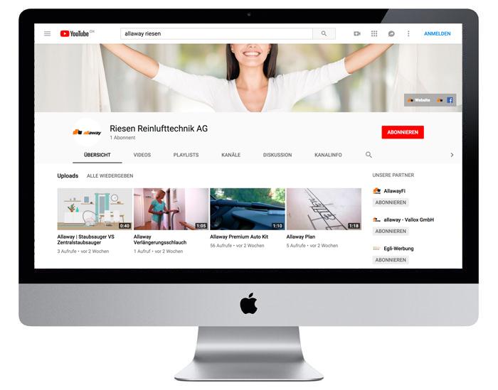Youtube-Kanal für die Allaway AG durch Egli-Werbung