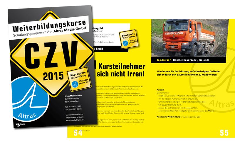 Design des Katalog für die Altras Media GmbH durch Egli-Werbung