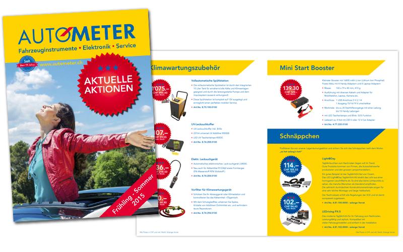 Design des Werbeflyer für die Autometer AGdurch Egli-Werbung