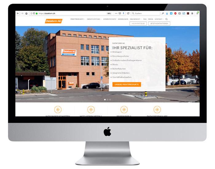 Webdesign für die Dataform AG in Zürich, designt durch Egli-Werbung