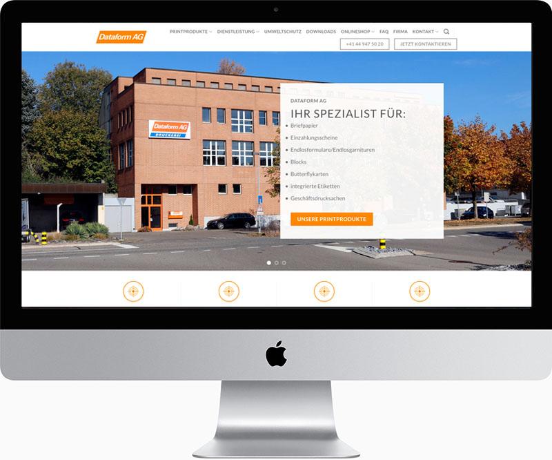 Webdesign für die Dataform AG in Zürich, designt von Egli-Werbung