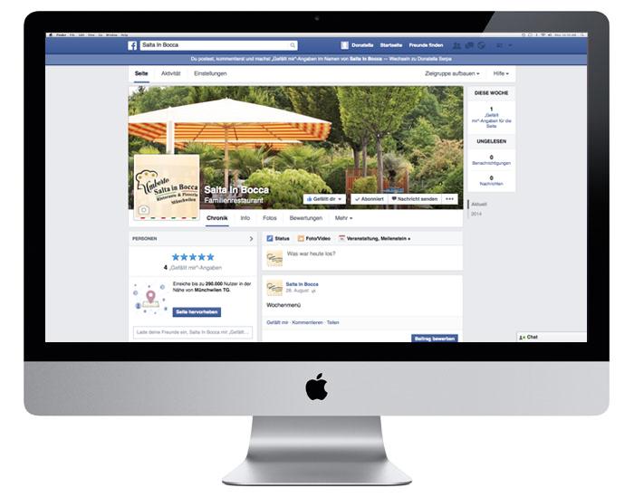SocialMedia Account für Salta In Bocca durch Egli-Werbung
