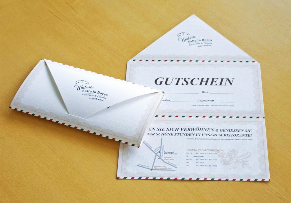 Design des Gutschein für SaltaInBocca durch Egli-Werbung