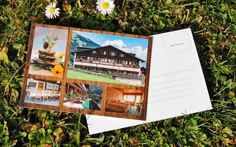 Design der Postkarte für Hotel Rustica durch Egli-Werbung