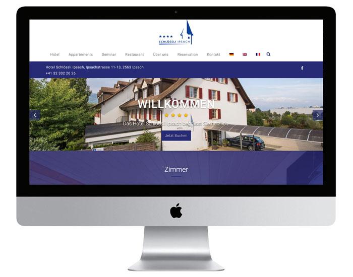 Design der Website für das Hotel Schlössli Ipsach durch Egli-Werbung
