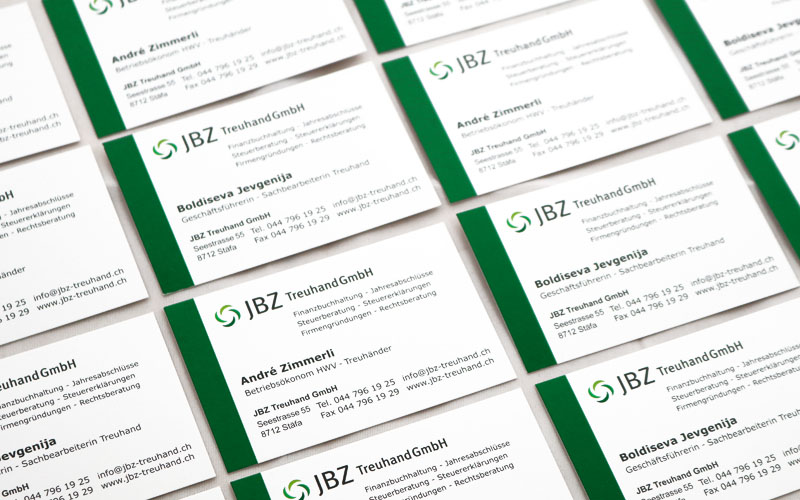 Briefschaften für JBZ-Treuhand durch Egli-Werbung
