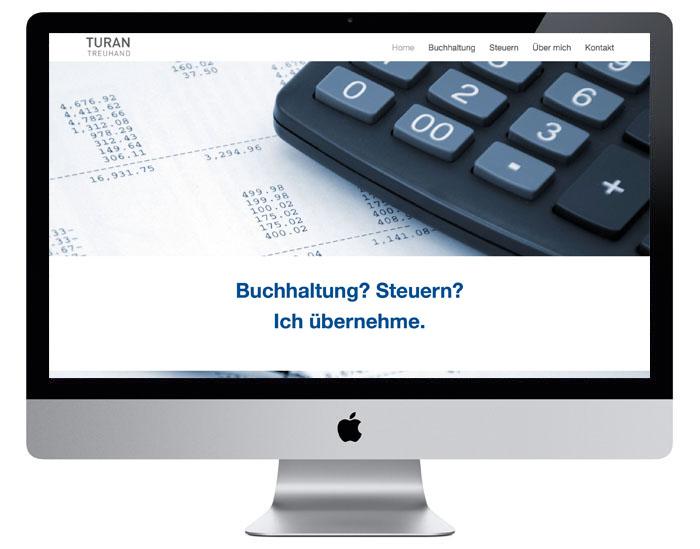 Onepage Webdesign für Turan Treuhand durch Egli-Werbung